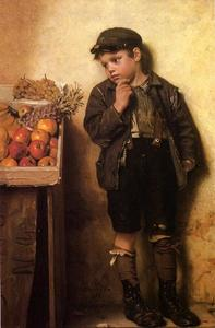 John George Brown - Eying a Fruit Stand