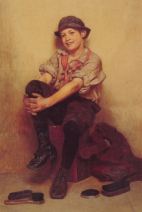 Tomando o fácil por John George Brown (1831-1913, United Kingdom)