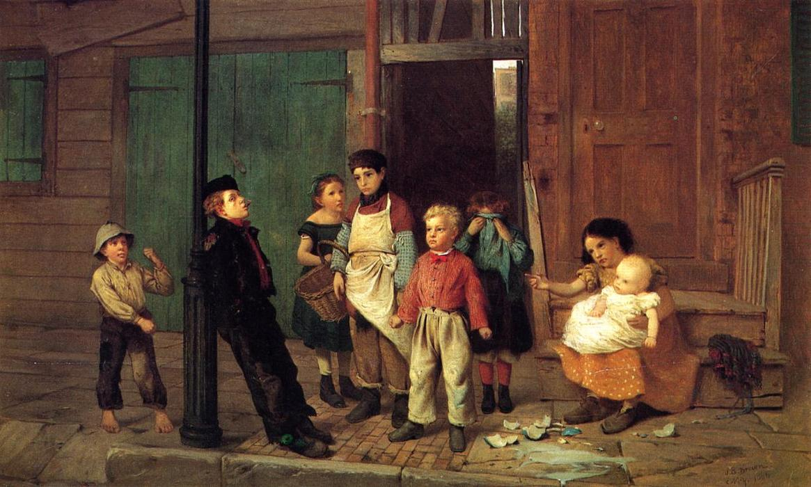 O Bully do Bairro por John George Brown (1831-1913, United Kingdom) | WahooArt.com