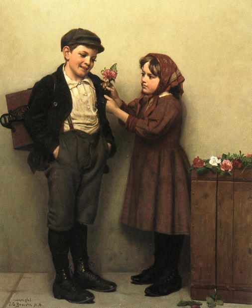 O Button Hole Posey por John George Brown (1831-1913, United Kingdom)