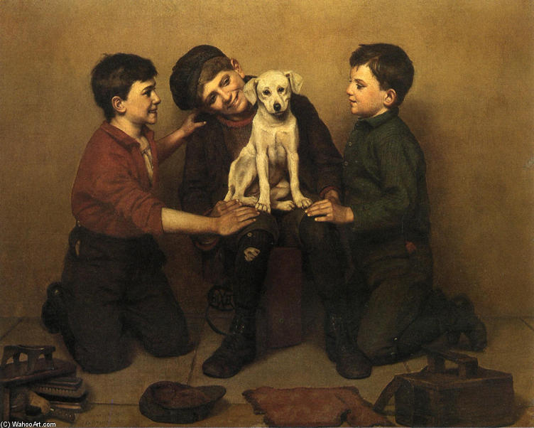 O Foundling, 1907 por John George Brown (1831-1913, United Kingdom) | Copy Pintura | WahooArt.com