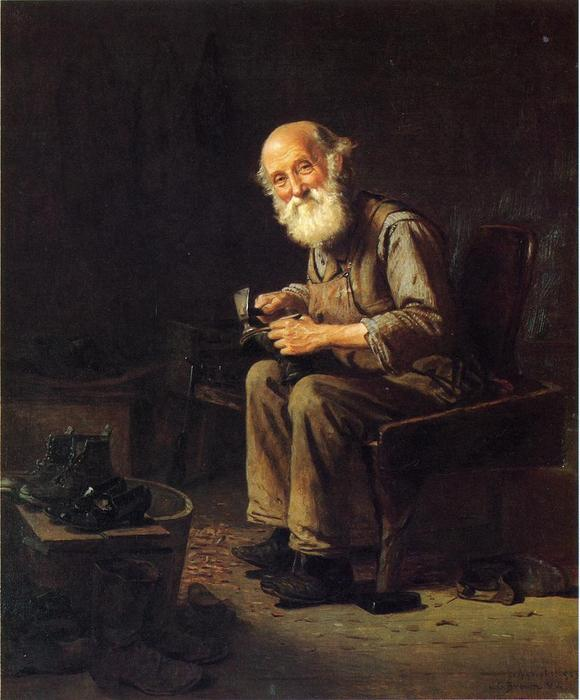 The Village Cobbler, óleo sobre tela por John George Brown (1831-1913, United Kingdom)
