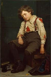 John George Brown - Tuckered para fora The Shoeshine Boy