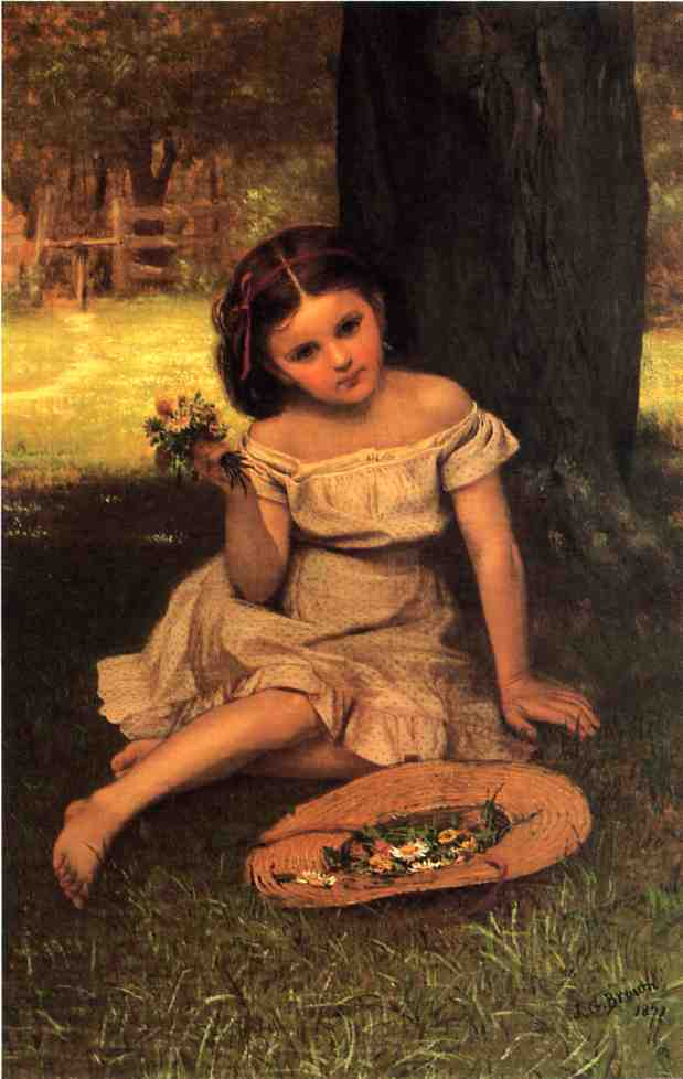 Rapariga com flores, óleo sobre tela por John George Brown (1831-1913, United Kingdom)