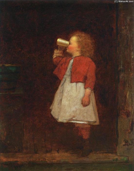 Menina com Drinking Red Jacket da Caneca por Jonathan Eastman Johnson (1824-1906, United Kingdom) | WahooArt.com