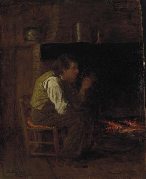 interior maine Homem  com  cachimbo  por Jonathan Eastman Johnson (1824-1906, United Kingdom)