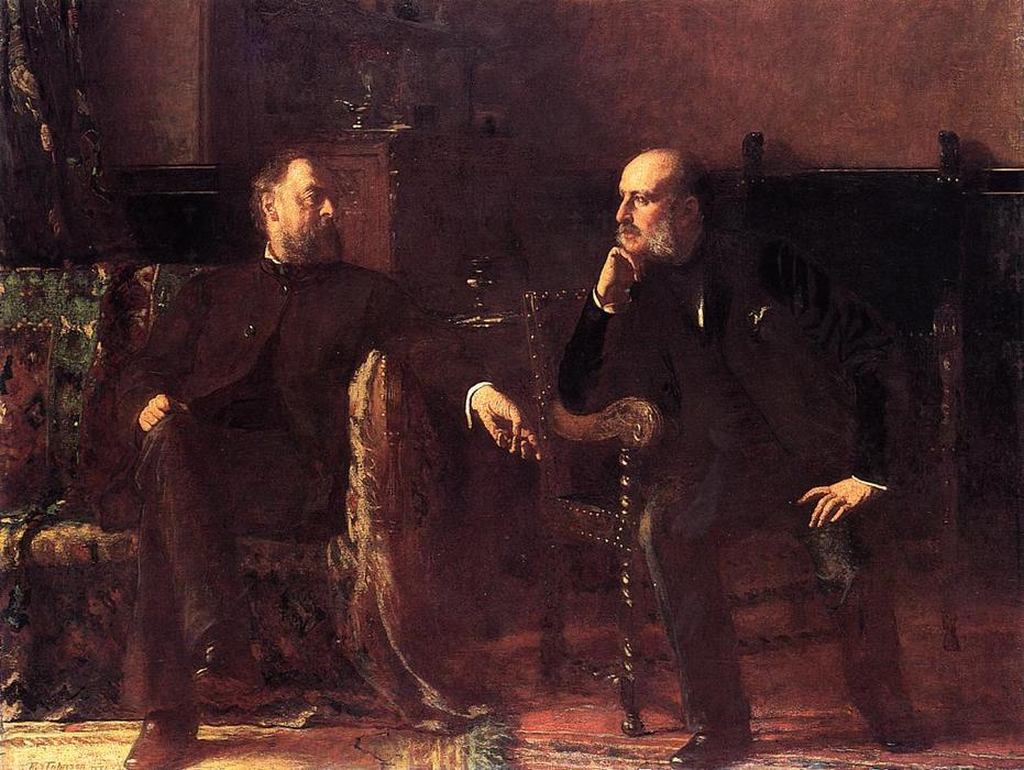 o financiamento conta  -   Retrato  dos  dois  homens  por Jonathan Eastman Johnson (1824-1906, United Kingdom) | WahooArt.com