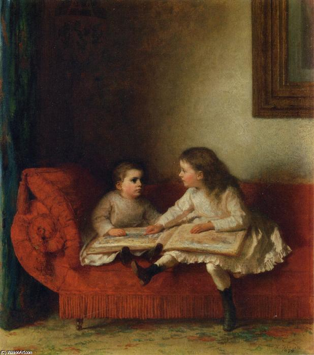 The Lesson (aka The Lesson com NOP Página do Livro do alfabeto) por Jonathan Eastman Johnson (1824-1906, United Kingdom)