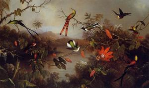 Martin Johnson Heade - Paisagem Tropical com dez Hummingbirds