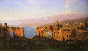 William Stanley Haseltine - Ruínas do teatro romano em Taormina Sicília