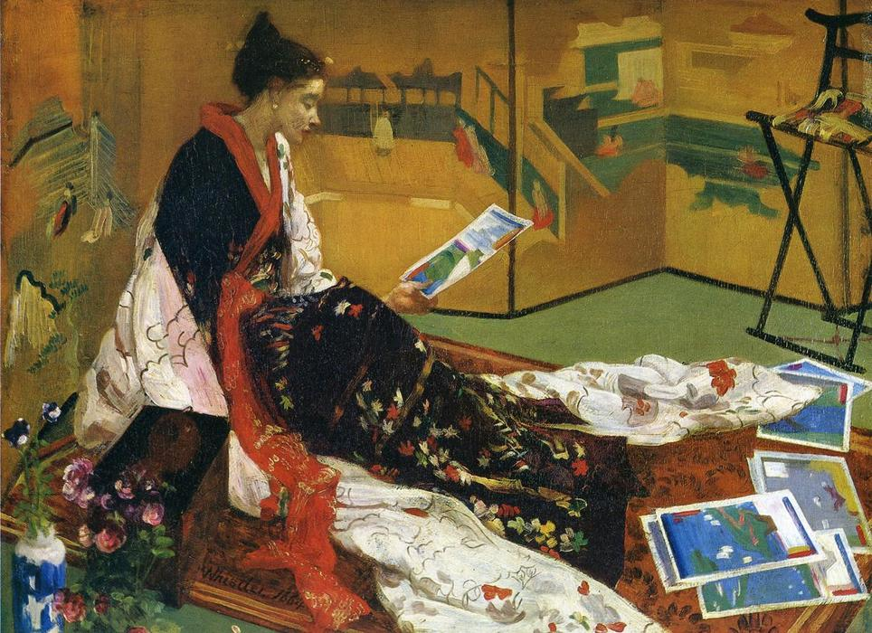 Caprice no roxo e no ouro: The Golden Tela, óleo sobre painel por James Abbott Mcneill Whistler (1834-1903, United States)