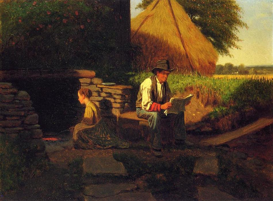 Catching Up on the News, óleo sobre painel por Jonathan Eastman Johnson (1824-1906, United Kingdom)