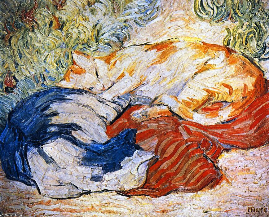 gatos, 1910 por Franz Marc (1880-1916, Germany) | Copy Pintura | WahooArt.com