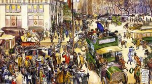 William James Glackens - Clientes do Natal, Madison Square (também conhecido como Shoppers Fifth Avenue)