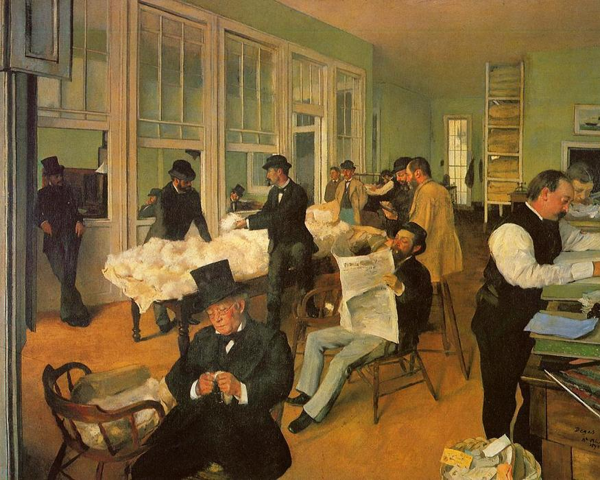 o algod o troca em novo orle es 1873 por edgar degas 1834 1917 france reprodu es de. Black Bedroom Furniture Sets. Home Design Ideas