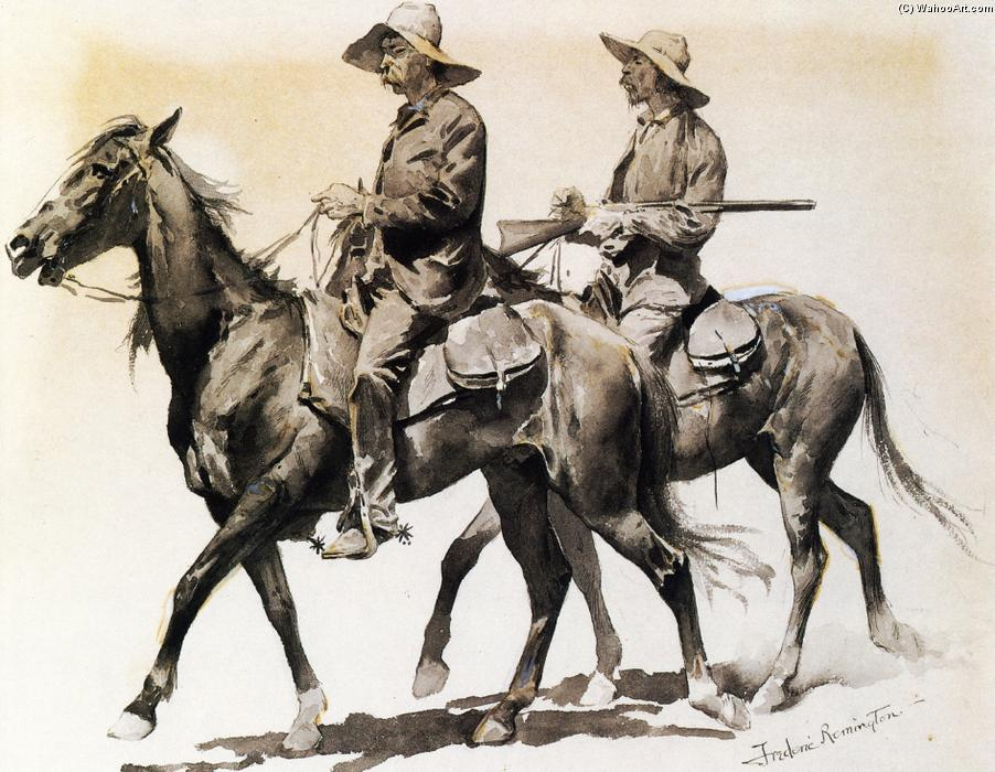 Cracker Cowboys of Florida, tinta para aguarela por Frederic Remington (1861-1909, United States)