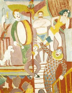 August Macke - Curcus Imagem II: Par de Atletas, Clown and Monkey