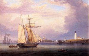 Fitz Hugh Lane - Sails secagem Ten Pound Ilha