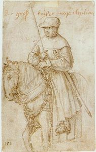 Hans Holbein The Elder - Imperador Maximilian on Horseback