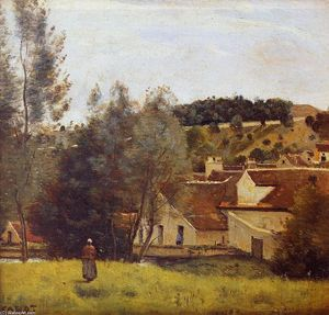 Jean Baptiste Camille Corot - A Evaux Mill at Chiery, perto de Chateau Thierry
