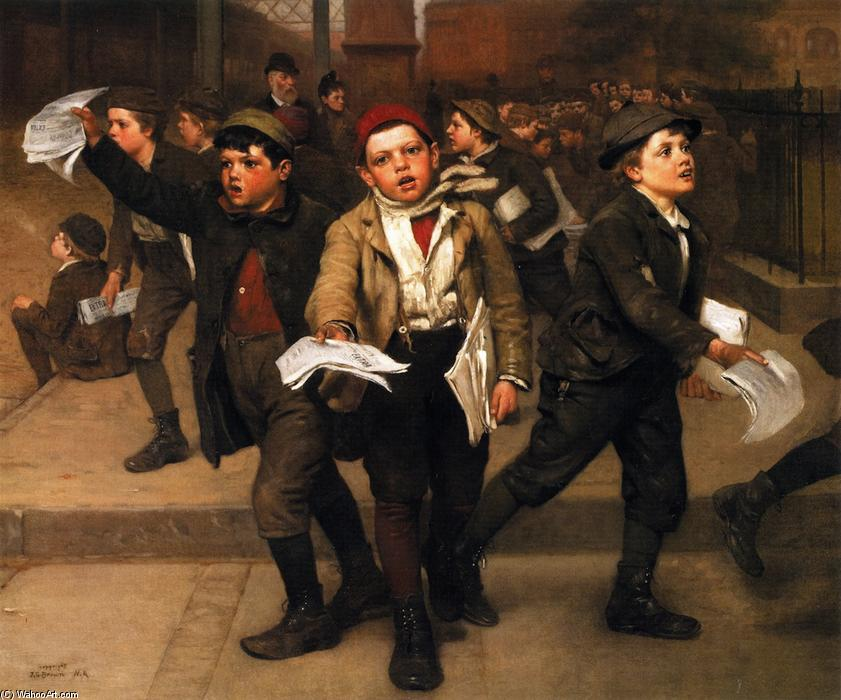 Extra!, óleo sobre tela por John George Brown (1831-1913, United Kingdom)