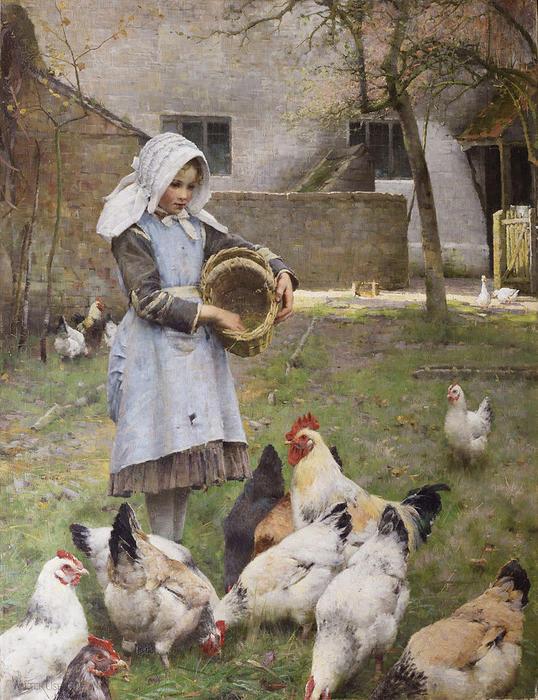 Alimentando as galinhas, óleo sobre tela por Walter Frederick Osborne (1859-1903, Ireland)