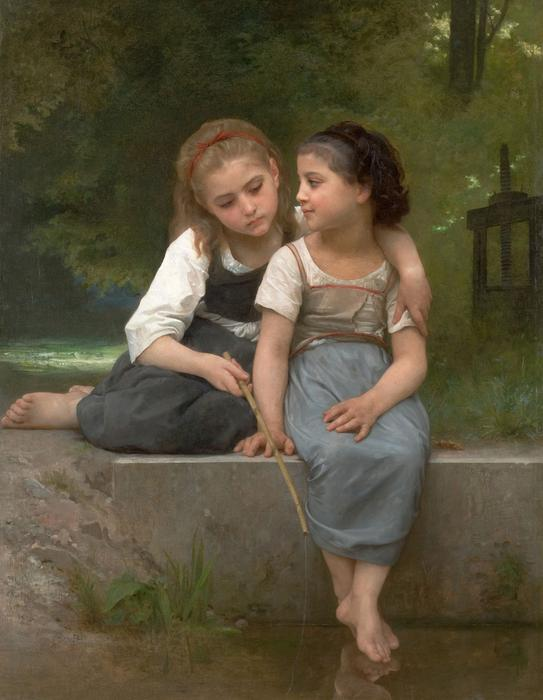 A pesca de Rãs, óleo sobre tela por William Adolphe Bouguereau (1825-1905, France)