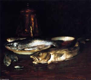 William Merritt Chase - Peixe, Prato e Copper Pot