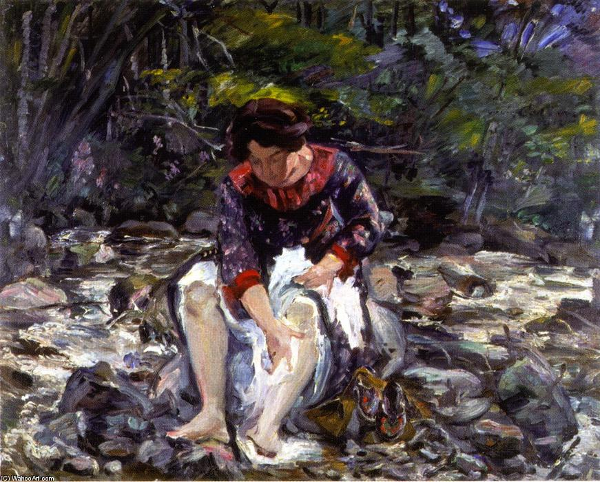 Girl in the Brook (Charlotte Corinth), óleo sobre tela por Lovis Corinth (Franz Heinrich Louis) (1858-1925, Netherlands)