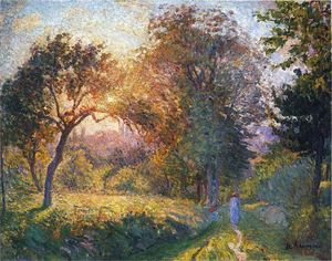 Henri Lebasque - raparigas no floresta ao pôr do sol
