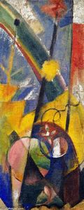 Franz Marc - paisagem com arco-íris ( Right-hand parte do Three-part tela de fogo )