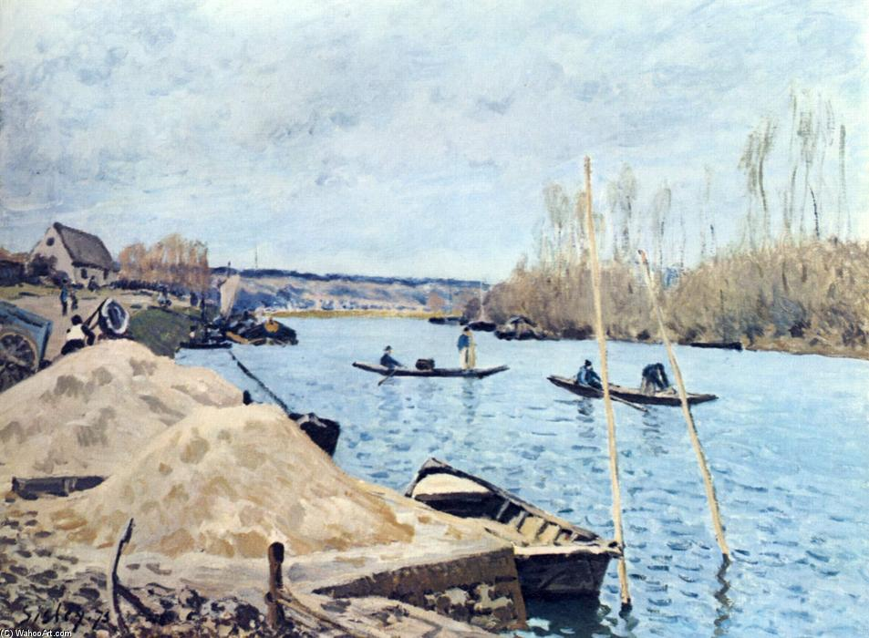 o Seine at Port Marly sand piles, óleo sobre tela por Alfred Sisley (1839-1899, France)
