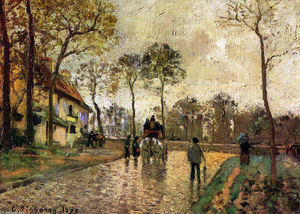 Camille Pissarro - Stagecoach para Louveciennes