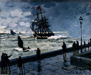 Claude Monet - The Jetty em Le Havre, Mau Tempo