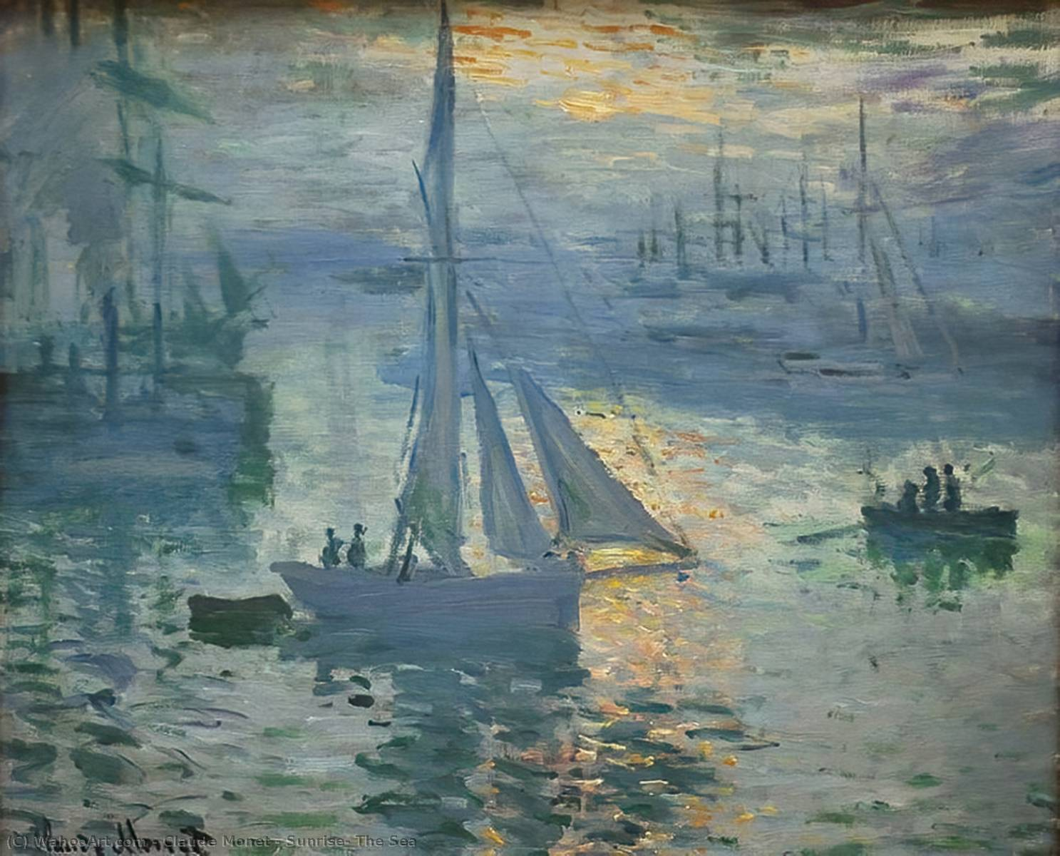 Nascer do sol o  Mar , 1873 por Claude Monet (1840-1926, France) | WahooArt.com