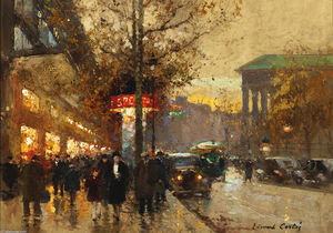 Edouard Cortes - La Madeleine in crepuscule look from Avenida