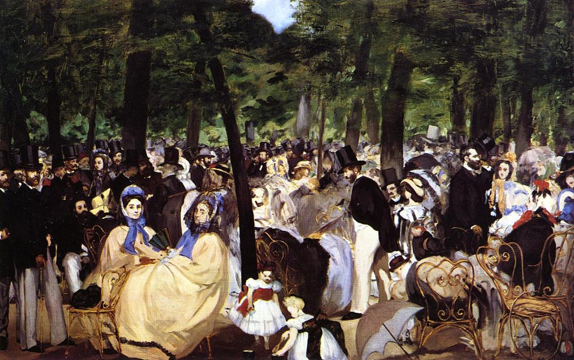 music in the tuileries by édouard Music in the tuileries is an early example of manet's painterly style inspired by  hals and velázquez, it is a harbinger of his.