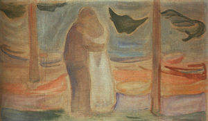 Edvard Munch - casal na shore ( do reinhardt frieze )