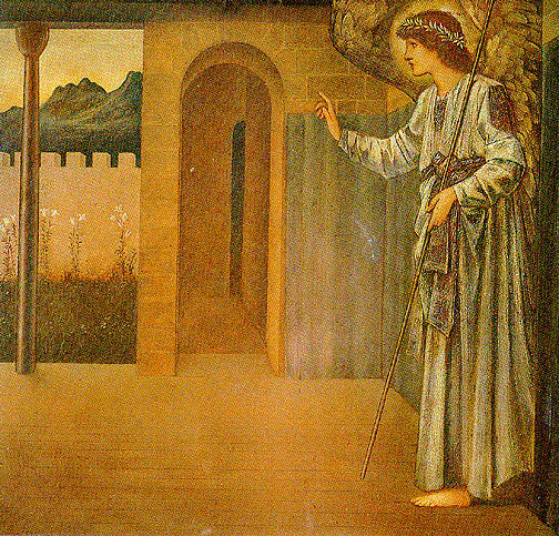 o anunciação o anjo por Edward Coley Burne-Jones (1833-1898, United Kingdom) | Reproduções De Belas Artes Edward Coley Burne-Jones | WahooArt.com