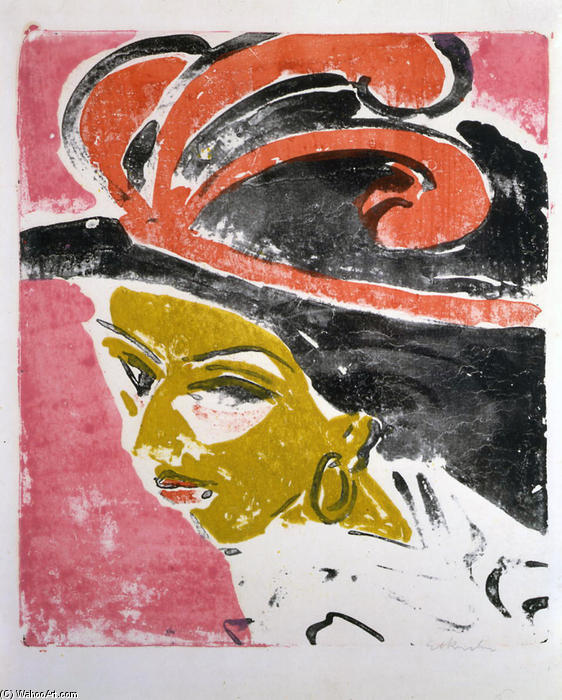 Kokottenkopf com Feathered Hat, 1910 por Ernst Ludwig Kirchner (1880-1938, Germany)