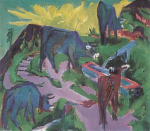 Ernst Ludwig Kirchner - vacas ao pôr do sol