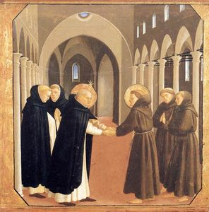 Fra Angelico - A Reunião dos Santos Domingos e Francisco de Assis