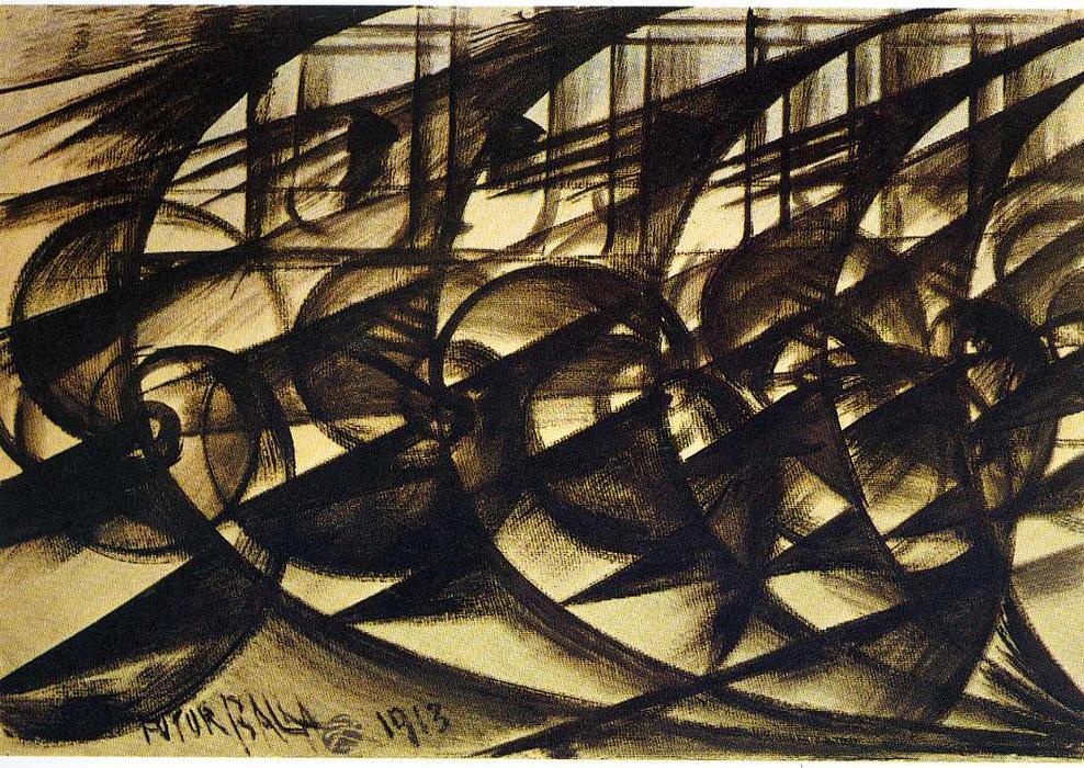 Carro em alta velocidade - Giacomo BallaA velocidade de um carro é demonstrada na imagem por meio de uma sucessão de figuras. As linhas vibrantes reforçam tal ideia de movimento e a maneira em que estão expostas explicitam em que direção o carro está se movimentando.