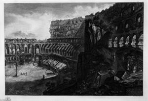 Giovanni Battista Piranesi - Vista interior dos  o  coliseu
