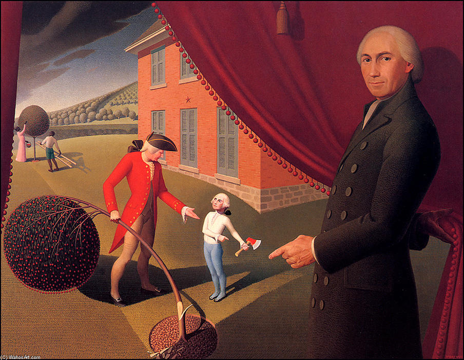 Fable do Parson Weem, greda por Grant Wood (1891-1942, United States)