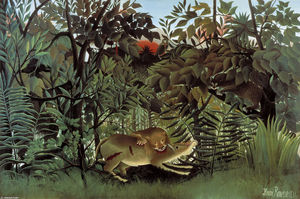 Henri Julien Félix Rousseau (Le Douanier) - The Hungry Lion joga-se no Antelope