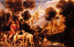 Jacob Jordaens - Hunter com seus cães