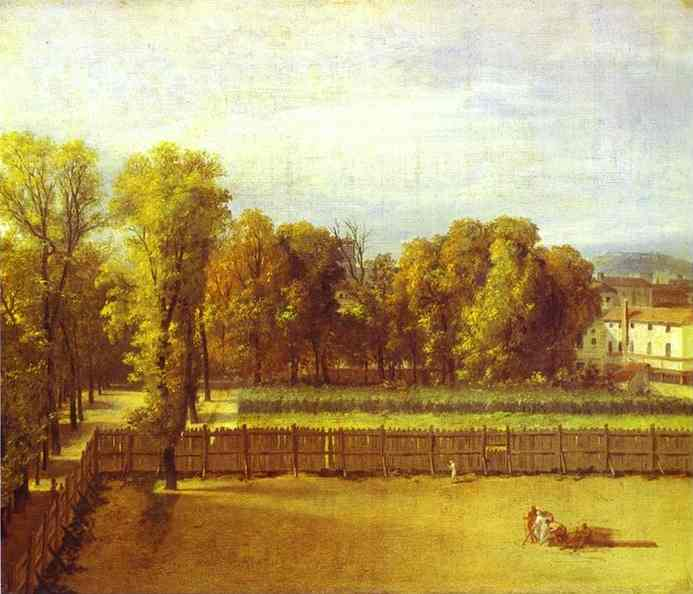 visto do Luxemburgo  jardins  dentro de  em Paris , 1794 por Jacques Louis David (1748-1800, France) | WahooArt.com