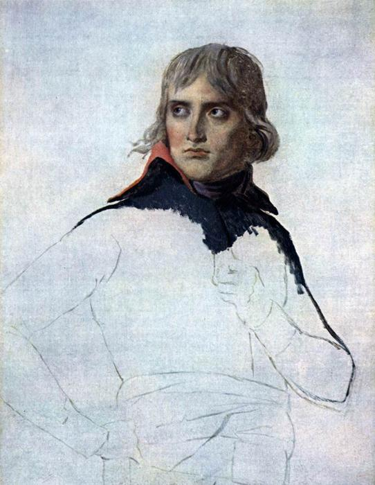 Retrato inacabado do general Bonaparte, 1798 por Jacques Louis David (1748-1800, France) | Reproduções De Belas Artes Jacques Louis David | WahooArt.com