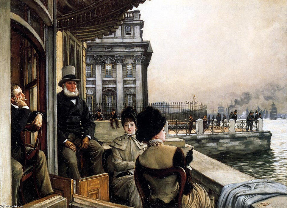 O terraço do Trafalgar Tavern Greenwich Londres por James Jacques Joseph Tissot (1836-1902, France) | Gravura De Qualidade De Museu James Jacques Joseph Tissot | WahooArt.com